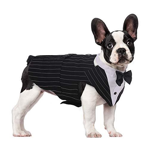 Kuoser Traje de Esmoquin para Perros de Tamaño Pequeño/Mediano/Grande, Ropa para Mascotas, Camisa para Cachorros con Lazo Negro Extraíble, Disfraz Formal para Bodas y Festivales