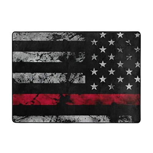 N/W Alfombra fina con bandera americana roja para sala de estar, dormitorio, sala de juegos, 1,5 x 9,2 cm.
