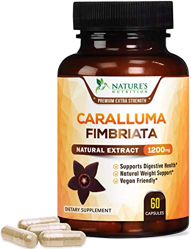 Caralluma Fimbriata Extract Extra Strength 1200mg - Natural Support for Metabolism & Endurance, Made in USA, Best Vegan Diet Supplement for Men & Women, Non-GMO - 60 Capsules