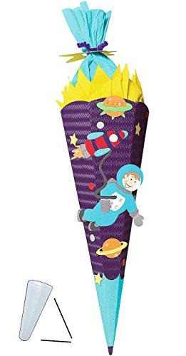 BASTELSET Schultüte -  Weltraum  - 85 cm - mit / ohne Kunststoff Spitze - Zuckertüte zum selber Basteln - 6 eckig Jungen Rakete Planeten Erde All Sterne WEL..