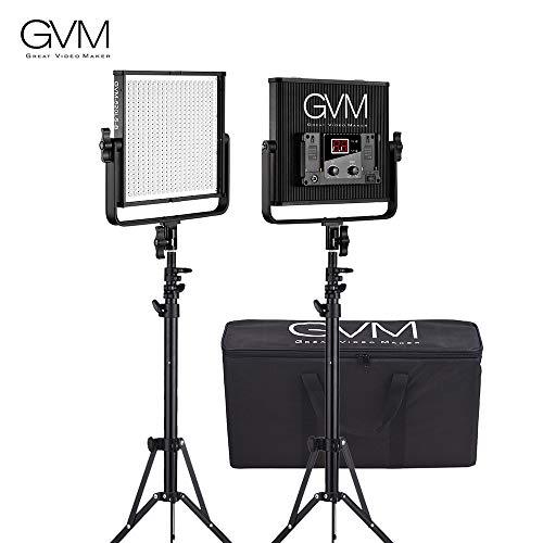 TOPTOO GVM GVM-520LS-B 2pcs Regulable Bicolor LED Video Panel de luz y 70 Pulgadas Soporte Kit de iluminación CRI97 + TLCI97 3200-5600K Carcasa de aleación de Aluminio con Soporte U Entrevista