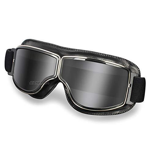 Gafas de Motocicleta Retro vidrios antirreflejos de Moda a Prueba de Viento a Prueba de Viento Fuera de Carretera Gafas de Motocross (Color : Black Lenses)