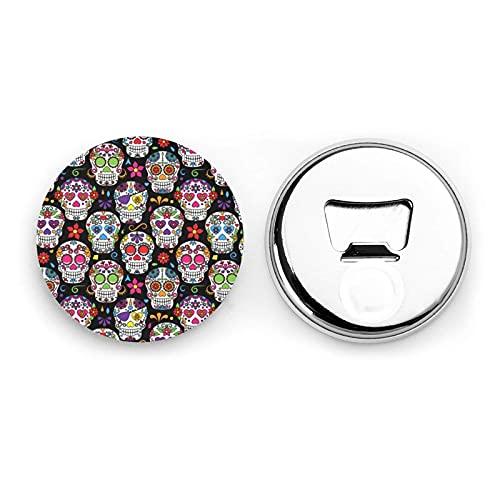 Colorful Flower Skulls Round Bottle Openers/Fridge Magnets Stainless Steel Corkscrew Magnetic Sticker 2 Pcs