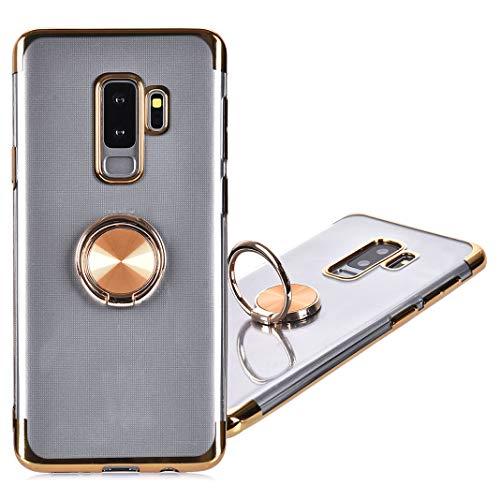 Galaxy S9 Plus Housse avec Anneau de Support, 360 Degrés Rotation Anneau Bague avec Support Magnétique TPU Souple Anti-Scratch Silicone Transparente Couverture Étui à Rabat pour Samsung Galaxy S9 Plus