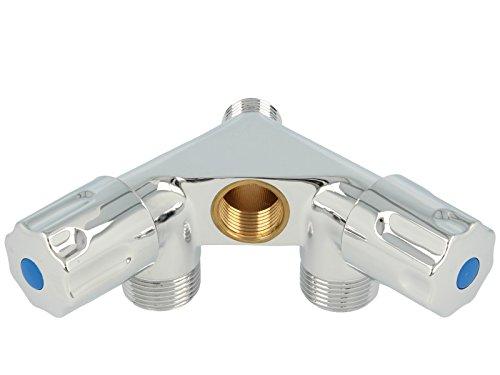 tecuro Doppel-Geräteventil mit 2 Abgängen - messing verchromt