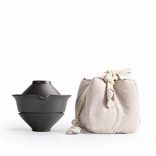 DQM theepot Japans draagbare Kung Fu Tea Cup 1 pot met 2 kopjes, geschikt voor thee en koffie of water, kan elke dag worden neergezet. De elegante look