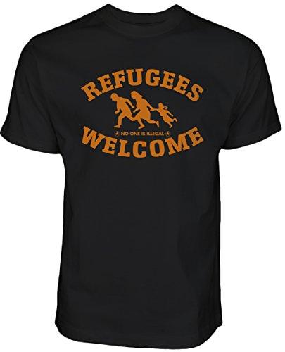 Refugees Welcome T-Shirt Schwarz mit orangenes Motiv - Nobody is illegal Gegen Nazis gegen AFD Pro Asyl (M, Schwarz)
