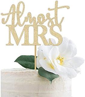 """DKISEE Tarjeta con purpurina para decoración de tartas con texto en inglés """"Casmost Mrs Mrs"""", decoración de despedida de s..."""