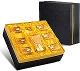 Copas de cóctel, Conjunto de decantadores de whisky de cristal de oro del dispensador de la botella de licor (850 ml) y set de 6 gafas (320 ml) Cristal sin plomo para espíritus, bourbon o conjunto de