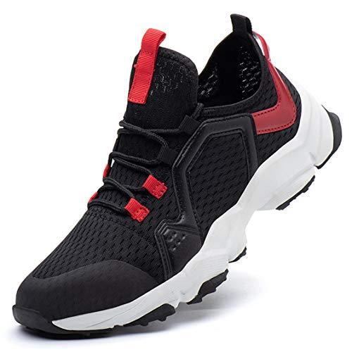 QJUZO Zapatillas de Trabajo Deportivas de Hombre, con Punta de Acero Running Fitness Sneakers Zapatos de Seguridad Aire Libre Deportes Casual Ligeras para Correr Transpirable,Negro,42 EU