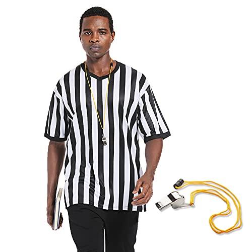 Shinestone Referee Shirts with Whistle, Men's V Neck Basketball...