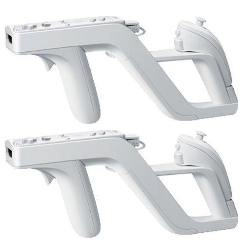 Aeromdale Zapper Gun für WII Nintendo Wiimote Controller, kabellos, für Shoot-Controller, Weiß, 2 Stück
