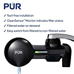 PUR PFM100B Faucet Water Filtration System, Horizontal, Black 12 PUR ADVANCED FAUCET WATER FILTER:PUR Advanced Faucet Filter in Chrome attaches to your sink faucet, for easy, quick access to cleaner, great-tasting filtered water. A CleanSensor Monitor displays filter status, so you know when it needs replacement. Dimensions: 6.75 W x 2.875 H x 5.25 L FAUCET WATER FILTER: PUR's MineralClear faucet filters are certified to reduce over 70 contaminants, including 99% of lead, so you know you're drinking cleaner, great-tasting water. They provide 100 gallons of filtered water, or 2-3 months of typical use WHY FILTER WATER? Home tap water may look clean, but may contain potentially harmful pollutants & contaminants picked up on its journey through old pipes. PUR water filters, faucet filtration systems & water filter pitchers reduce these contaminants