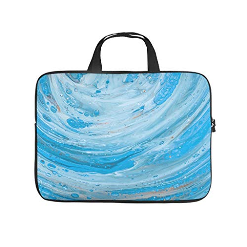 Blue Watercolour Waves Laptop Bag Shockproof Laptop Protective Case Customised Notebook Bag for University Work Business