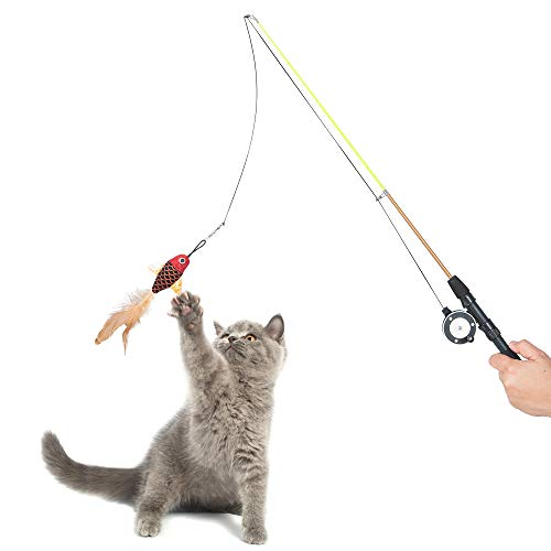 Captain Catnip fishing rod funny Retractable wand interactive cat teaser toy for indoor cats feel relax best toys Feathers Funny Stick Pet Toy