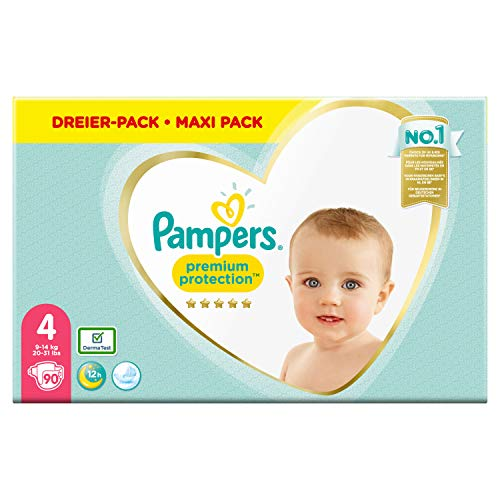 Pampers Premium Protection Windeln, Gr. 4, 9kg-14kg, Dreier-Pack (1 x 90 Windeln)