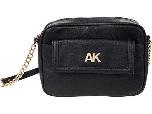 Anne Klein Women's Camera Crossbody Bag, Black, 9' L x 6.5' H x 2' D
