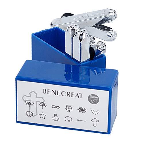 BENECREAT 12 Pack 6mm Design Briefmarken, Metall Stempel Stempel - Galvanisch Hartstahl Werkzeuge zum Stempeln/Lochen Metall, Schmuck, Leder, Holz