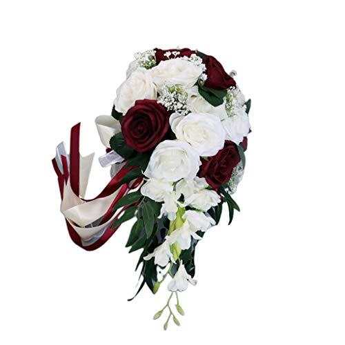SUCHUANGUANG Matrimonio Romantico Bouquet da Sposa a Cascata Fiori di Rosa Artificiali con Bouquet da Sposa a Nastro