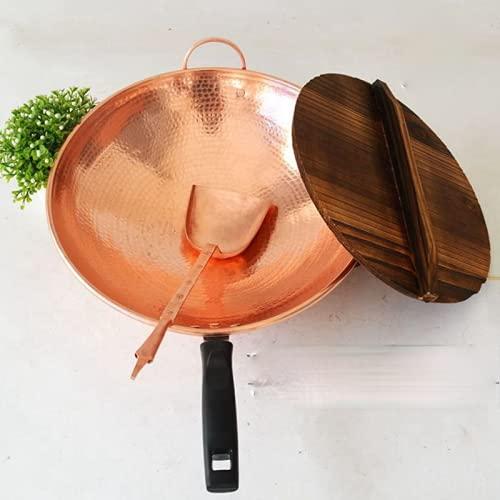 Wok in rame puro al 99,9% fatto a mano, antiaderente, per friggere a gas, con coperchio Woden e spatola in rame, 34 cm