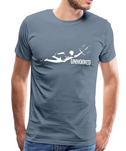 Kitesurfing Unhooked Lenkdrachensegeln Kiteboarding Männer Premium T-Shirt, M, Blaugrau