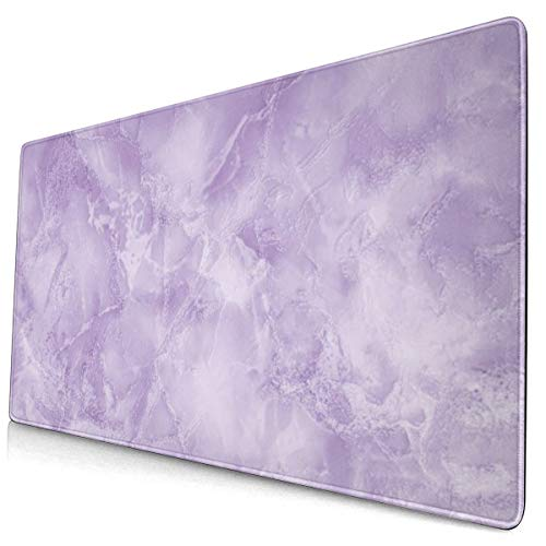 Purple Marble Design Pattern XXL XL Large Gaming Mouse Pad Mat Long Extended Mousepad Desk Pad Non-Slip Rubber Mice Pads Stitched Edges (29.5x15.7x0.12 Inch)