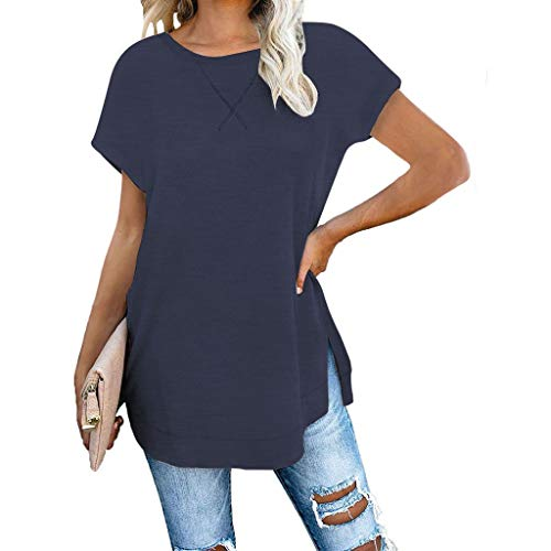 %66 OFF! Litetao L Navy 164862 (Women Fit Tunic Top V Neck Casual Color Block Stripe T-Shirt Flare T...