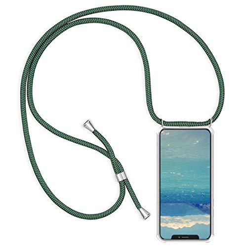 2Buyshop telefoonketting compatibel met iPhone 11 Pro Max beschermhoes mobiele telefoon band halsband halsketting hoes transparant schokbestendig telefoonhoes met omhangband voor iPhone 11 Pro Max, Grass Green