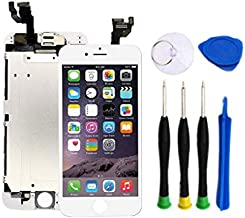 Premium Screen Replacement Compatible with iPhone 6 4.7 inch Full Assembly Touch Display digitizer with Front Camera, Ear Speaker and Sensors, Compatible with All iPhone 6 (White)