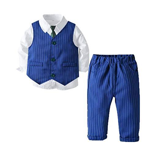 Flairstar Baby-Jungen Bekleidungssets Hochzeit Geburtstag Langarm Gentleman 4 Stück Blauen Anzug mit Krawatte Blau