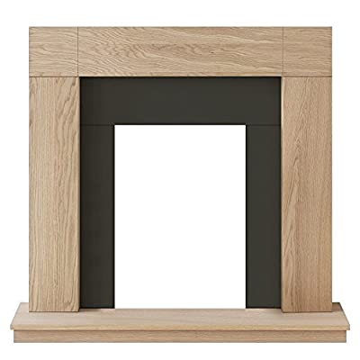 Adam Malmo Fireplace in Oak and Black/Cream, 39 Inch