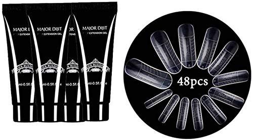 Gel nail kit,Anself - Alargador de uñas de gel + 48 piezas Consejos para la construcción de moldes rápidos Set para gel nails kit nails extensions gel
