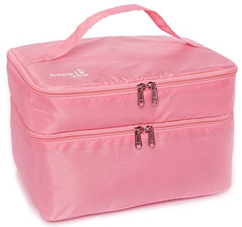 HOPEVILLE Extra großer Reise Organizer für Damen, Premium Kosmetiktasche und Kulturtasche für Unterwäsche, Kosmetik, Accessoires und Toilettenartikel (Rosa)