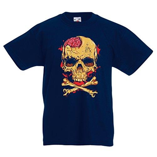lepni.me Camisas para niños La Calavera (7-8 Years Azul Oscuro Multicolor)