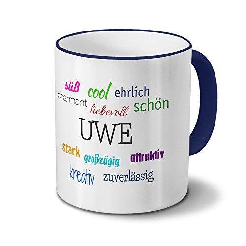 printplanet Tasse mit Namen Uwe - Positive Eigenschaften von Uwe - Namenstasse, Kaffeebecher, Mug, Becher, Kaffeetasse - Farbe Blau