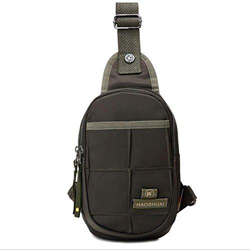 Sac de Poitrine sac voyage en nylon imperméable à l'eau trou d'écouteur grande capacité mâle dame poitrine sac Messenger sac Sling bag , Army Green