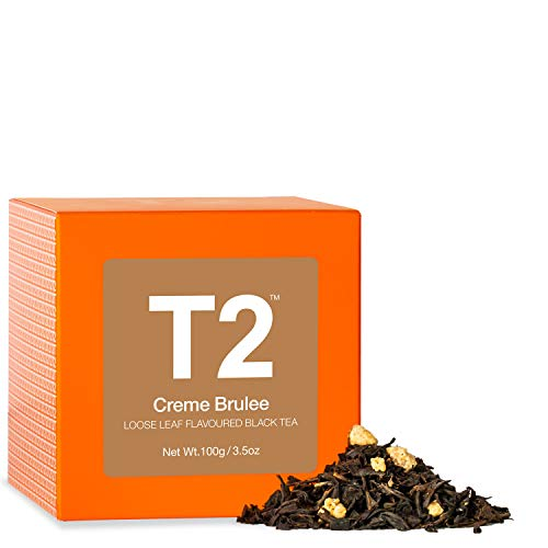 T2 Tea - Creme Brulee Black Tea, Loose Leaf Flavoured Black Tea in Gift Cube, 100g, 3.5oz