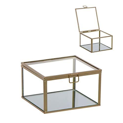 Vidal Regalos Caja Decorativa Cristal y Metal Dorada 8 cm