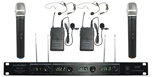 4-Kanal Professionelle VHF Handheld & Revers/Lavalier-Headset Wireless Mikrofon-System