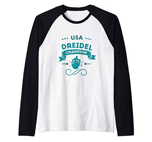 Hanukkah Usa American Dreidel Game Champion Jewish Menorah Raglan Baseball Tee
