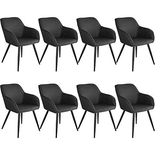 tectake 800872 8er Set Esszimmerstuhl mit Armlehnen, gepolsterte Stoff Sitzfläche, Schwarze Metallbeine, für Wohnzimmer, Esszimmer, Küche und Büro (Anthrazit)