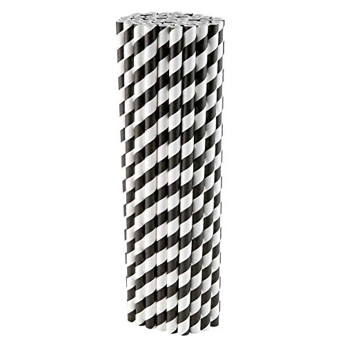 Papier-Trinkhalme, umweltfreundlich, biologisch abbaubar, 6 mm x 210 mm, nicht Kunststoff, recycelbar und kompostierbar, schwarz und weiß gestreift, 200 Stück