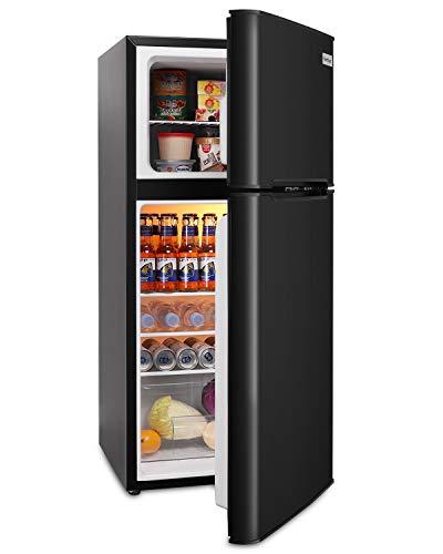 Northair Mini Fridge with Freezer 4.5 Cu.Ft Mini Fridge with 7 Temp Settings, 2 Doors, Interior LED Light, 4 Shelves and 1 Basket, Black