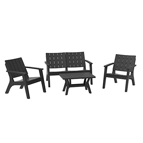 Outsunny 4-Piece Outdoor Patio Conversation Set Garden Furniture Set with Weather-Fighting PP Materials, Adirondack Comfort, & Coffee Table, Black