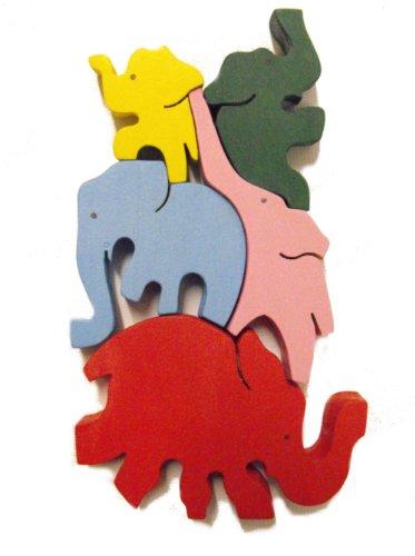 One World is Enough Puzzle d' éléphants équilibrage en Bois coloré - Commerce équitable - Mesure Environ 20cm de Hauteur, 12 cm de Longueur - Convient pour Les Adultes et Les Enfants