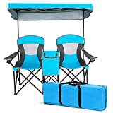 Safstar Double Camping Chair w/Shade Canopy, 2-Person Folding Camp and Beach Chair with Mini Table Beverage Cup Holder Carrying Bag for Garden Patio Pool Beach, Blue