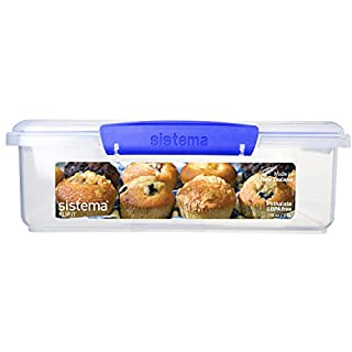 Sistema KLIP IT Utility Collection Bakery Box Food Storage Container, 14.8 Cup, Clear/Blue   BPA Free (B001XSNP00)   Amazon price tracker / tracking, Amazon price history charts, Amazon price watches, Amazon price drop alerts