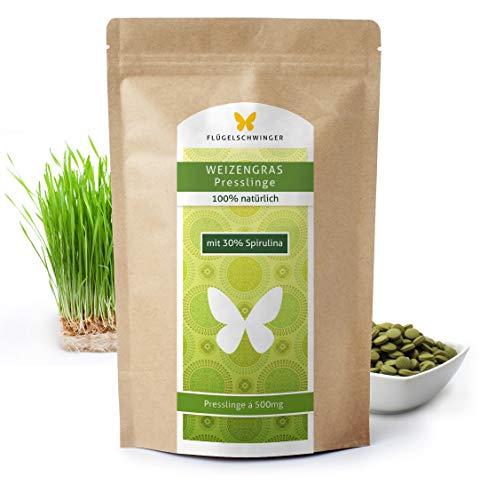 1kg Weizengras-Presslinge mit 30% Spirulina, Rohkostqualität, 2000 Tabletten á 500mg aus jungen Gräsern, schonende Verarbeitung bei niedrigen Temperaturen (1000g)