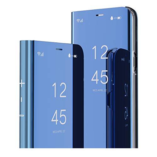 MRSTER Oppo Find X2 Lite Hülle Clear View Standing Cover, Spiegel Handyhülle Schutzhülle Flip Hülle Schutz Tasche mit Standfunktion 360 Grad hülle für Oppo Find X2 Lite 5G. Flip Mirror: Blue