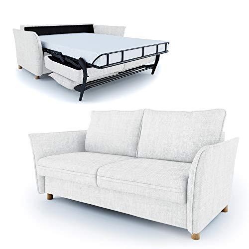 place to be. Schlafsofa 140 cm breit mit Bettkasten 2 Sitzer Sofa mit Schlaffunktion ausklappbar Bettsofa Gästebett Weiss P9206 mit Fleckschutz Eiche massiv